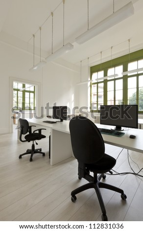 interior, office with furniture, computers