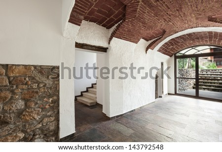interior old house, hall with vaulted ceiling