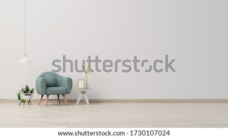 Interior poster mock up living room with armchair on empty white wall background,3D rendering Сток-фото ©