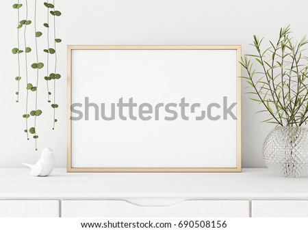Interior poster mock up with horizontal metal frame and plants in vase on white wall background. 3D rendering.