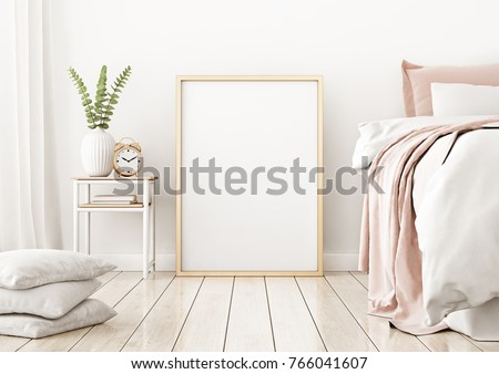 Interior poster mock up with vertical frame on the floor in home bedroom interior. 3D rendering.