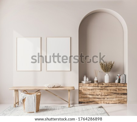 Interior poster mock up with vertical wooden frames, wooden bench, rattan basket and stylish home accessories on white wall background. Scandinavian style 3D render, 3D illustration
