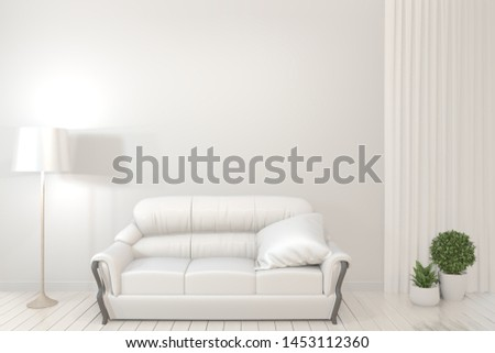 Interior poster mock up wooden frames, sofa, plant and lamp in living room with white wall minimal design. 3D rendering #1453112360