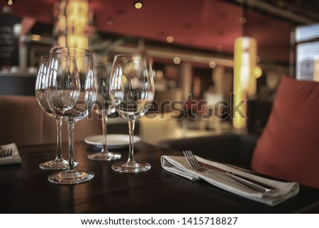 interior restaurant tableware / cutlery and tableware on a table in a cafe, beautiful catering industry #1415718827