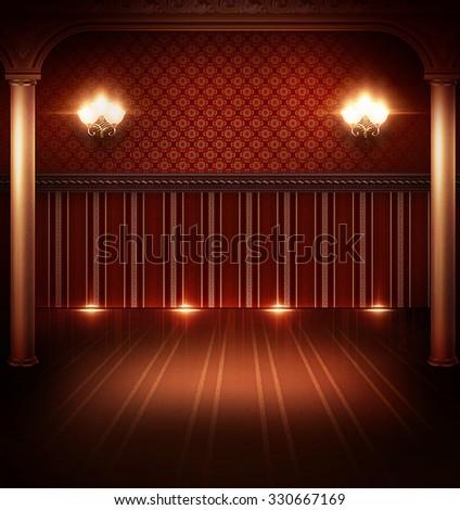 Interior retro room in red colors - Shutterstock ID 330667169