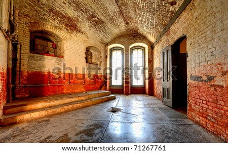 Interior room at the Fort Point National Historical Site in San Francisco, California