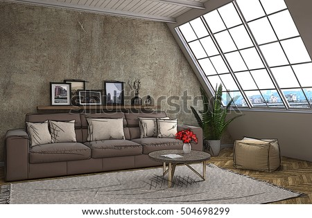 Interior room cartoon. 3d illustration #504698299