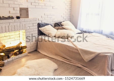 Interior room decorated in Christmas style. No people. Neutral colors. Home comfort of modern home. A series of photos stock photo