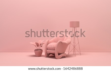 Interior room in plain monochrome light pink color with single chair, floor lamp and decorative vase and plant. Light background with copy space. 3D rendering for web page, presentation background