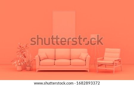 Interior room in plain monochrome pinkish orange color with furnitures and room accessories. Light background with copy space. 3D rendering for web page, presentation or picture frame backgrounds.