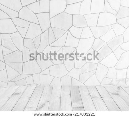 Interior room with Broken tiles wall and wooden floor