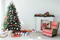 Interior room with Christmas tree window with new year gifts
