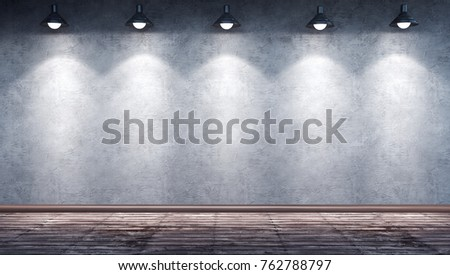 Interior Room With Dirty Concrete Cement Wall Wooden Floor And