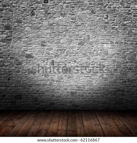 interior room with gray stone wall
