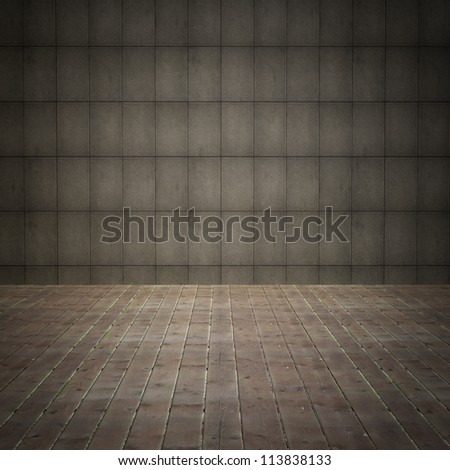 interior room with grunge concrete wall and old wood floor.