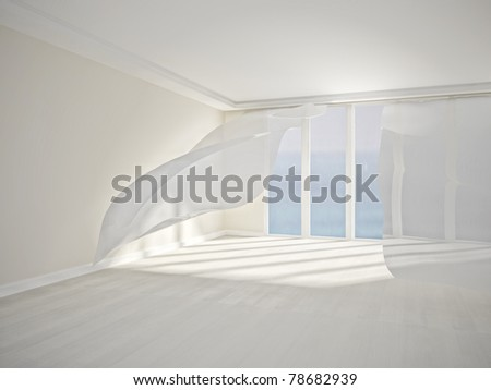 interior room, with white flowing curtains. 3d render stock photo
