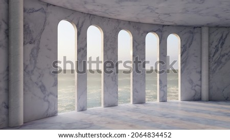 Interior room with windows overlooking the sunset sea 3d render