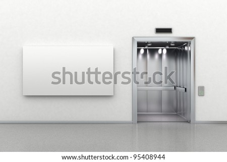 Interior scene of an open elevator and a blank billboard