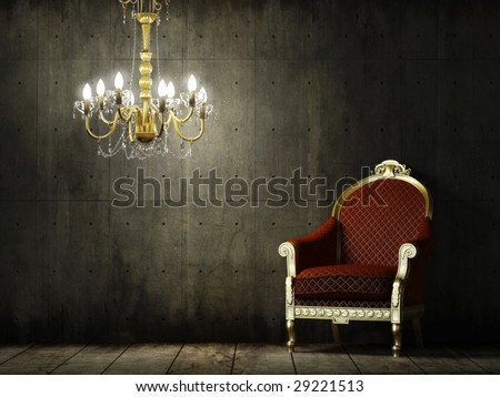 interior scene of grunge concrete room with classic golden armchair and chandelier