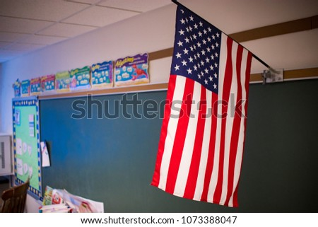 Interior School Classroom Chalkboard with Flag #1073388047