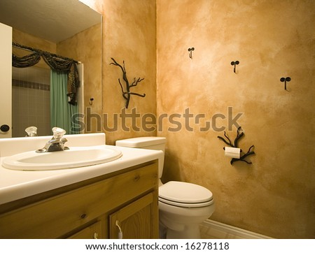 Interior shot of a bathroom with modern decorations on the wall