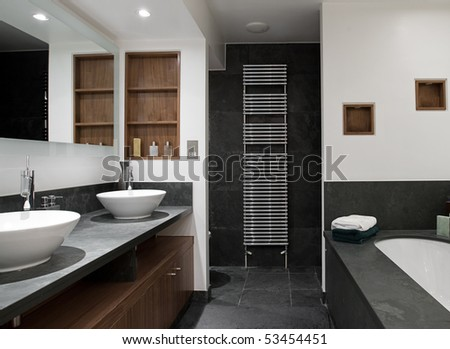 Interior Shot Of A Luxury Bathroom With His And Hers Sinks Stock Images Page Everypixel