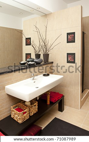 Interior shot of a modern bath room - stock photo