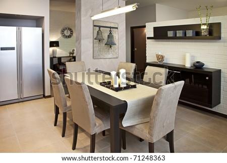 Interior shot of a modern dining room #71248363