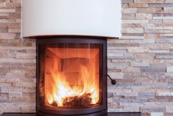 Interior shot of a modern marble fireplace