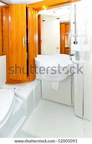 Interior shot of bathroom in motor home