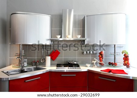 Interior shot of contemporary silver kitchen counter