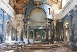 Interior shot of old Abandoned Orthodox Church