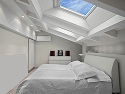 interior shots of a modern bedroom in the mansard in foreground the bed and the skylight