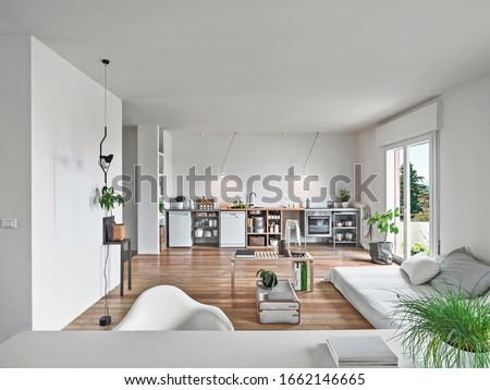 interior shots of a modern living room  in foreground the sofas in background the kitchen the floorin in made of wood Сток-фото ©