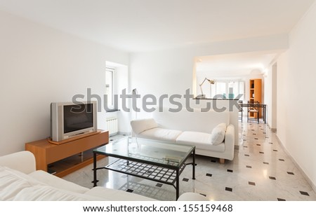 Interior, small apartment, living room view