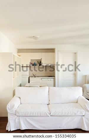 Interior, small apartment, room view, white divan