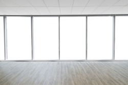Interior space with wooden floor of modern empty office for material background isolated with clipping path