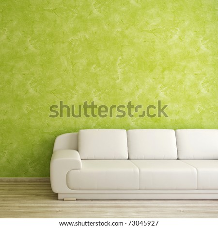 Interior square background with white sofa and green wall
