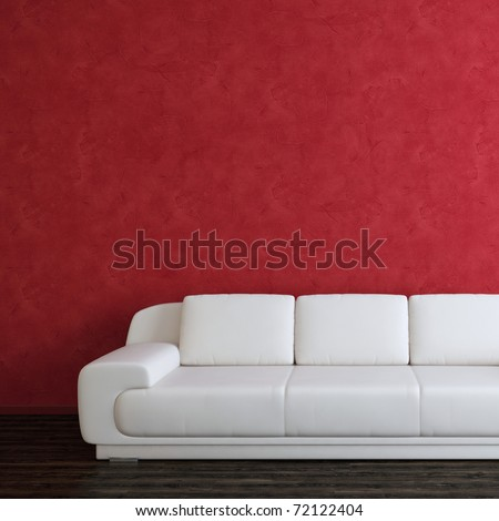 Interior square background with white sofa and red wall