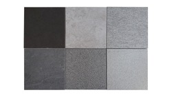 interior stone and concrete tile samples in square shape isolated on white background with clipping path. samples made of granite and quartz stone for flooring ,wall ,counter top works.