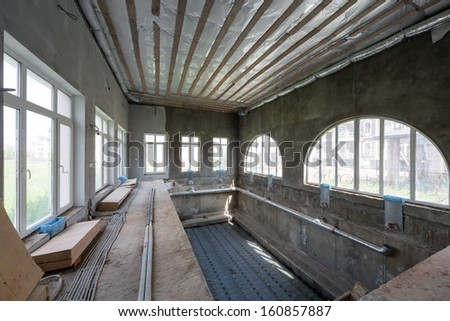Interior under construction house with swimming pool #160857887
