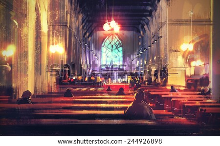 interior view of a church,digital painting,illustration