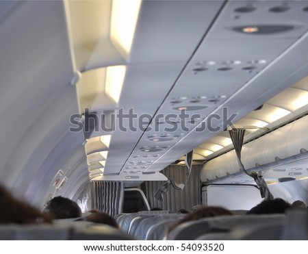 Interior view of a flying plane for passengers transportation