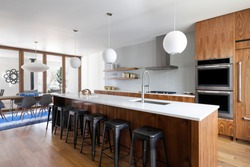 Interior view of a mid-century modern inspired house