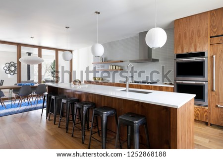 Interior view of a mid-century modern inspired house #1252868188