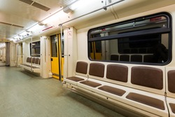 Interior view of a subway car in Moscow, Russia. Empty subway carriage. Inside the Moscow metro train. Concept of underground transport.