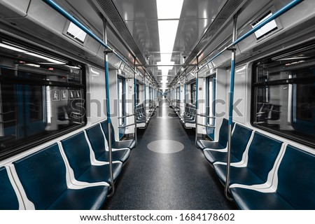 Interior view of a subway. Empty subway transport. Сток-фото ©
