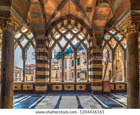 Interior view of Amalfi cathedral. Amalfi coast. Campania, Italy. Unesco world heritage site