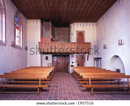 Interior view of an historic and beautiful old chapel in Basel Switzerland
