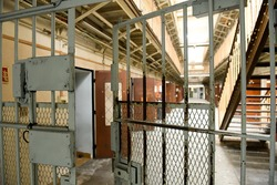 interior view of an old abandoned prison
